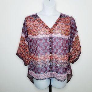 Figueroa & Flower Sheer & Lace Button Front Blouse